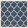 Safavieh Indoor/ Outdoor Courtyard Navy/ Beige Rug (7'10 Square)