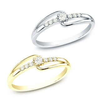 Auriya 10k White or Yellow Gold 1/10ct TDW Round Diamond Promise Ring (J-K, I1-I2)