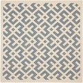 Safavieh Indoor/ Outdoor Courtyard Blue/ Bone Rug (4' Square)