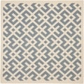Safavieh Indoor/ Outdoor Courtyard Blue/ Bone Rug (5'3 Square)