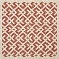 Safavieh Stain-resistant Indoor/ Outdoor Courtyard Red/ Bone Rug (4' Square)