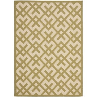 Safavieh Indoor/ Outdoor Courtyard Beige/ Green Rug (9' x 12')