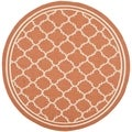 Safavieh Indoor/ Outdoor Courtyard Terracotta/ Bone Rug (4' Round)