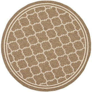 Safavieh Indoor/ Outdoor Courtyard Brown/ Bone Rug (4' Round)
