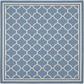 Safavieh Indoor/ Outdoor Courtyard Bordered Blue/ Beige Rug (4' Square)