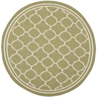 Safavieh Indoor/ Outdoor Courtyard Green/ Beige Rug (4' Round)