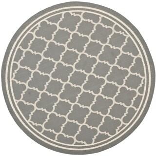 Safavieh Contemporary Indoor/ Outdoor Courtyard Anthracite/ Beige Rug (4' Round)