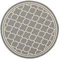 Safavieh Contemporary Indoor/ Outdoor Courtyard Anthracite/ Beige Rug (4' Round)