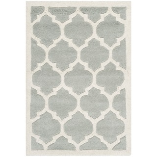 Safavieh Handmade Moroccan Chatham Collection Gray/ Ivory Wool Rug (2'3 x 5')