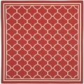 Safavieh Indoor/ Outdoor Courtyard Red/ Bone Rug (4' Square)