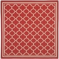 Safavieh Contemporary Indoor/ Outdoor Courtyard Red/ Bone Rug (4' Square)