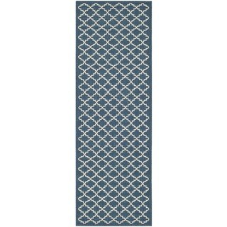 Safavieh Indoor/ Outdoor Courtyard Navy/ Beige Rug (2'3 x 12')