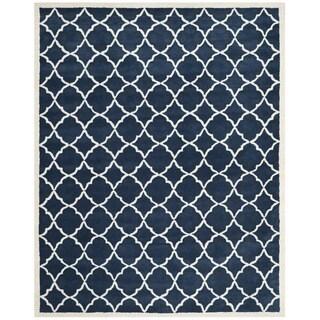 Safavieh Handmade Moroccan Chatham Blue/ Ivory Wool Geometric-pattern Rug (8'9 x 12')