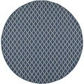 Safavieh Indoor/ Outdoor Courtyard Collection Navy/ Beige Rug (4' Round)