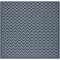 Safavieh Indoor/ Outdoor Courtyard Navy/ Beige Rug (4' Square)
