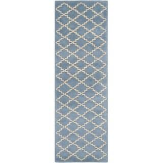 Safavieh Handmade Moroccan Chatham Blue Grey Wool Rug (2'3 x 13')