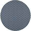 Safavieh Indoor/ Outdoor Courtyard Trellis Pattern Navy/ Beige Rug (7'10'' Round)