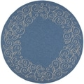 Safavieh Indoor/Outdoor Courtyard Blue/Beige Floral Rug (7'10 Round)