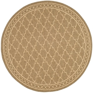 Safavieh Indoor/ Outdoor Courtyard Dark Beige/ Beige Rug (7'10 Round)