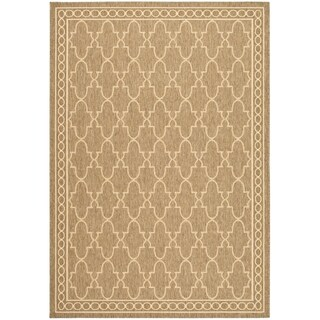 Safavieh Indoor/ Outdoor Courtyard Dark Beige/ Beige Rug (9' x 12')