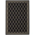 Safavieh Indoor/ Outdoor Courtyard Trellis Pattern Black/ Beige Rug (9' x 12')