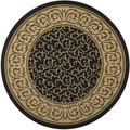 Safavieh Indoor/ Outdoor Courtyard Black/ Natural Rug (7'10 Round)