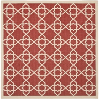 Safavieh Indoor/ Outdoor Courtyard Red/ Beige Rug (7'10 Square)
