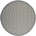 Safavieh Indoor/ Outdoor Courtyard Anthracite/ Beige Geometric Rug (5'3 Round)