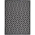 Safavieh Indoor/ Outdoor Contemporary Courtyard Black/ Beige Rug (6'7 x 9'6)