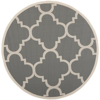 Safavieh Indoor/ Outdoor Courtyard Grey/ Beige Rug (4' Round)