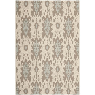 Safavieh Indoor/ Outdoor Courtyard Beige/ Aqua Weft Rug (6'7 x 9'6)