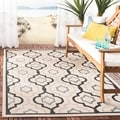 Safavieh Indoor/ Outdoor Courtyard Beige/ Black Polypropylene Rug (8' x 11')