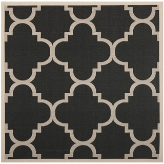 Safavieh Indoor/ Outdoor Courtyard Black/ Beige Polypropylene Rug (4' Square)