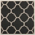 Safavieh Indoor/ Outdoor Courtyard Trellis-pattern Black/ Beige Rug (5'3'' Square)