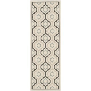 Safavieh Indoor/ Outdoor Courtyard Beige/ Black Rug (2'3 x 10')