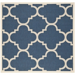 Safavieh Indoor/ Outdoor Courtyard Contemporary Navy/ Beige Rug (4' Square)