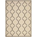 Safavieh Indoor/ Outdoor Courtyard Beige/ Black Rug (6'7 x 9'6)