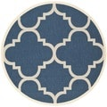 Safavieh Indoor/ Outdoor Courtyard Navy/ Beige Area Rug (7'10'' Round)