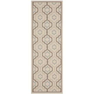 Safavieh Indoor/ Outdoor Courtyard Beige/ Dark Beige Rug (2'4 x 12')