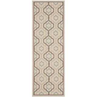 Safavieh Indoor/ Outdoor Courtyard Beige/ Dark Beige Rug (2'3 x 8')