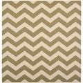 Safavieh Indoor/ Outdoor Courtyard Green/ Beige Area Rug (5'3 Square)