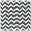 Safavieh Indoor/ Outdoor Courtyard Navy/ Beige Geometric Rug (7'10 Square)