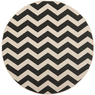 Safavieh Indoor/ Outdoor Courtyard Geometric Black/ Beige Rug (4' Round)