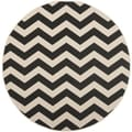 Safavieh Indoor/Outdoor Courtyard Black/Beige Zig-zag Rug (7'10 Round)