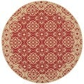 Safavieh Indoor/ Outdoor Courtyard Red/ Cream Rug (5'3 Round)
