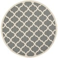 Safavieh Indoor/ Outdoor Courtyard Anthracite/ Beige Rug (4' Round)