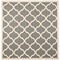Safavieh Indoor/ Outdoor Courtyard Anthracite/ Beige Area Rug (4' Square)