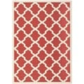 Safavieh Contemporary Indoor/ Outdoor Courtyard Red/ Bone Rug (8' x 11')