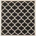 Safavieh Indoor/ Outdoor Courtyard Geometric-pattern Black/ Beige Rug (5'3'' Square)