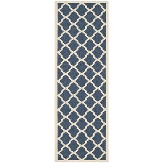 Safavieh Indoor/ Outdoor Courtyard Navy/ Beige Geometric Rug (2'3 x 12')